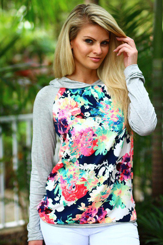 hooded floral top