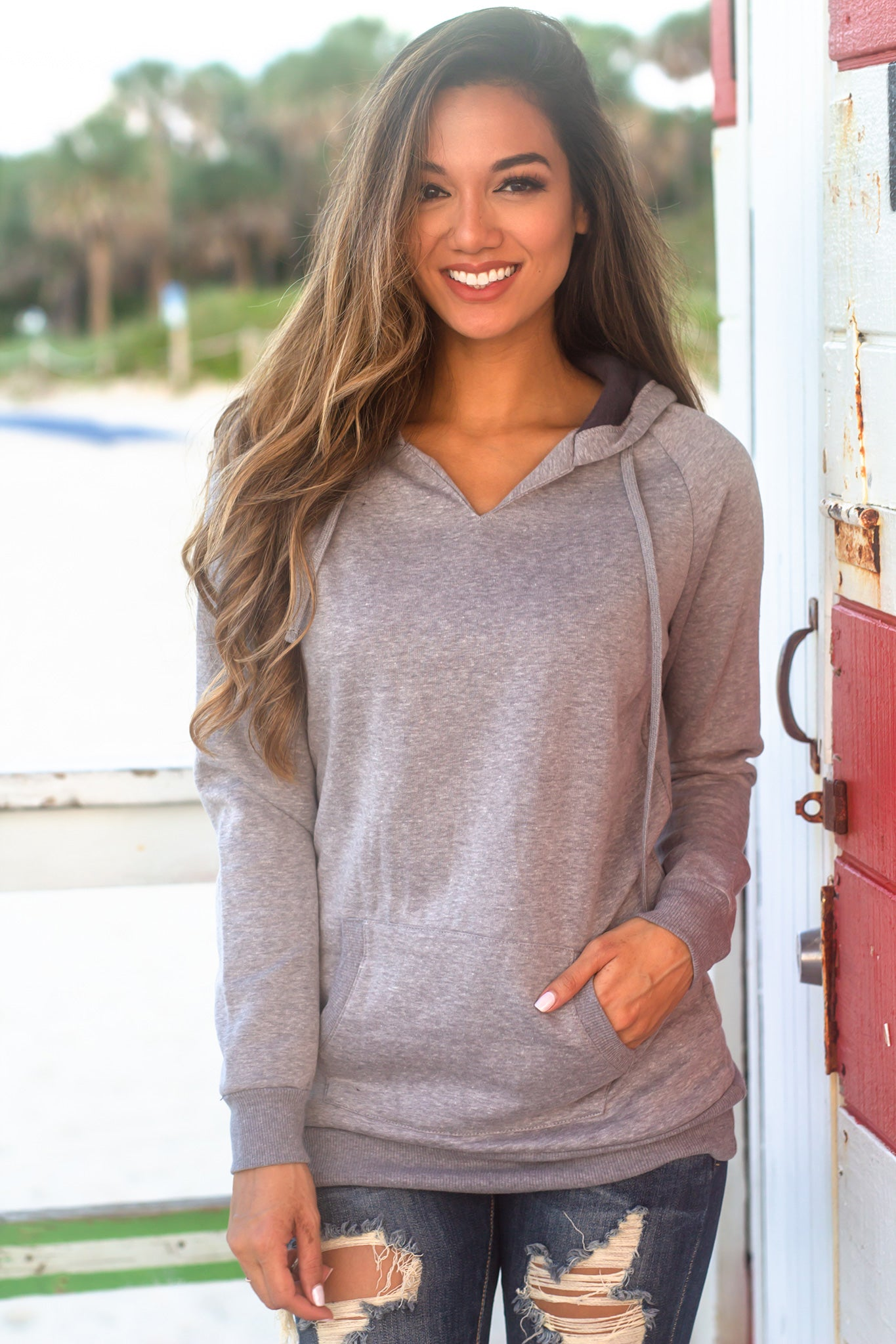 Gray Hoodie with Pocket