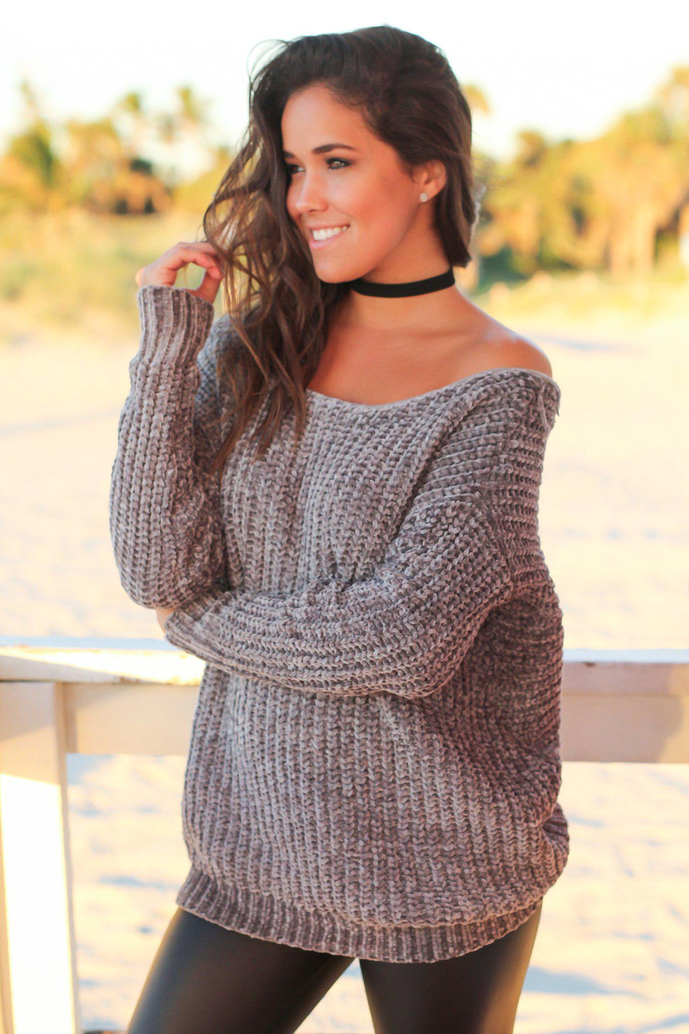 Gray Knit Sweater with Back Detail