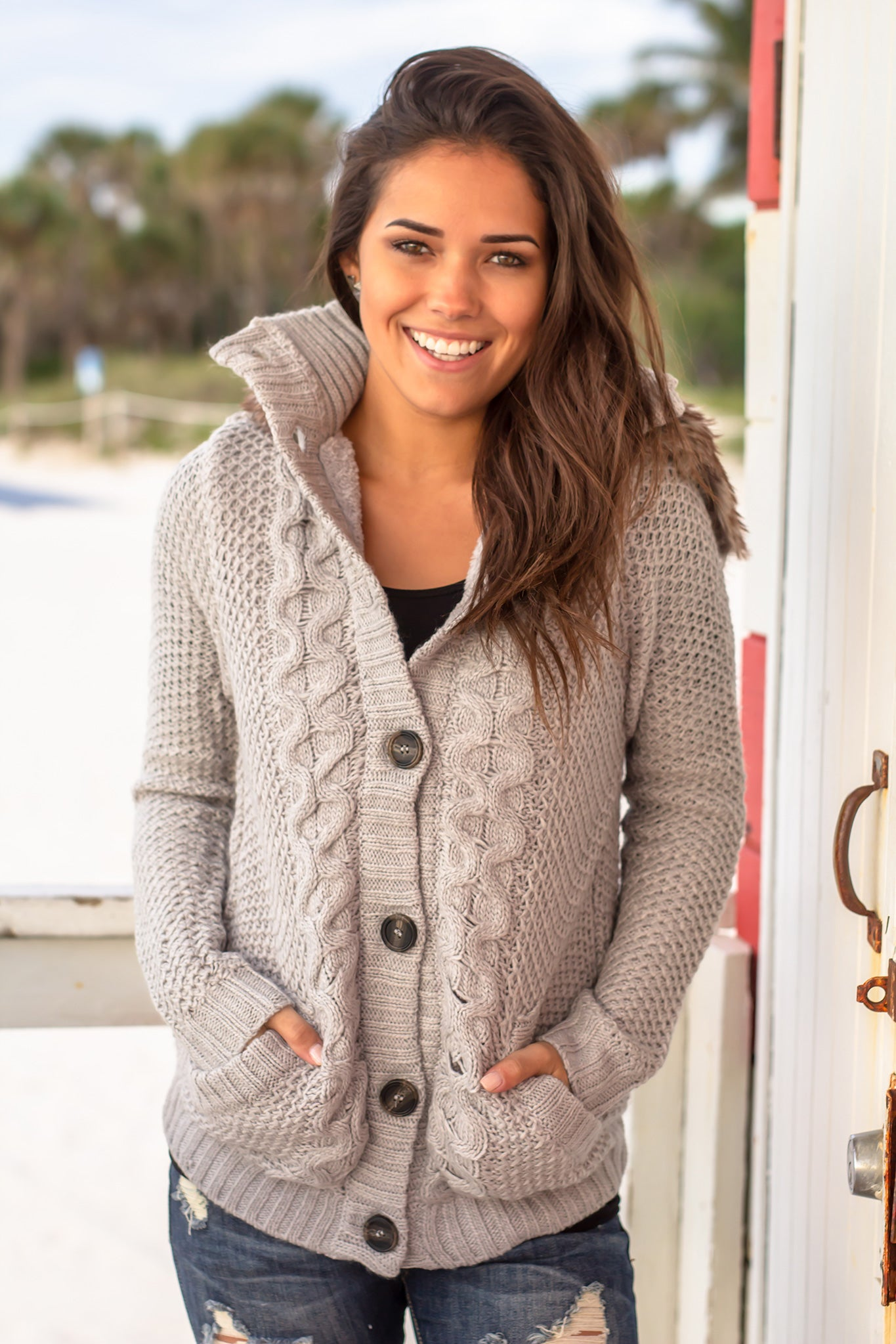 Gray Knit Sweater with Fur Hood