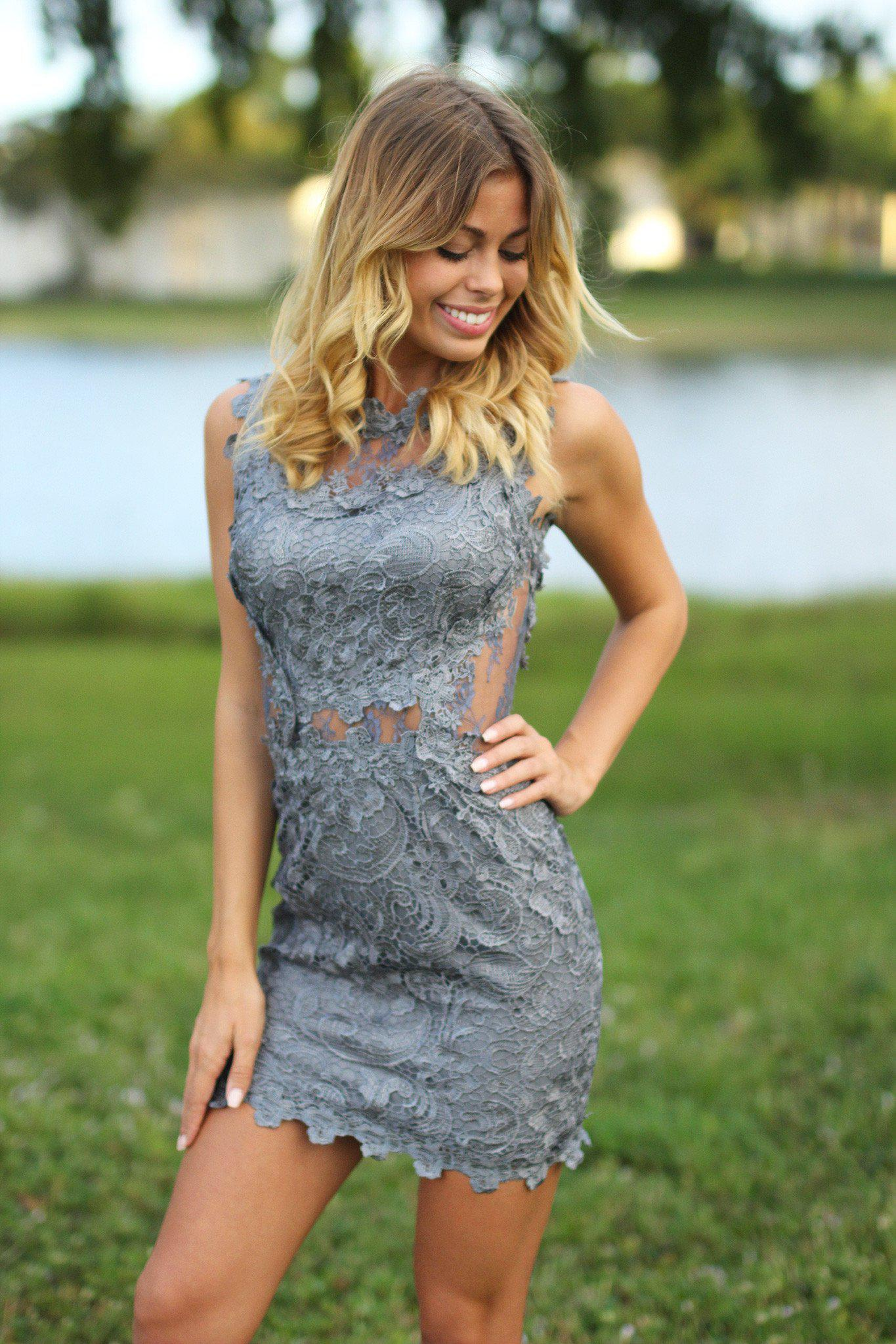 Gray Lace Short Dress