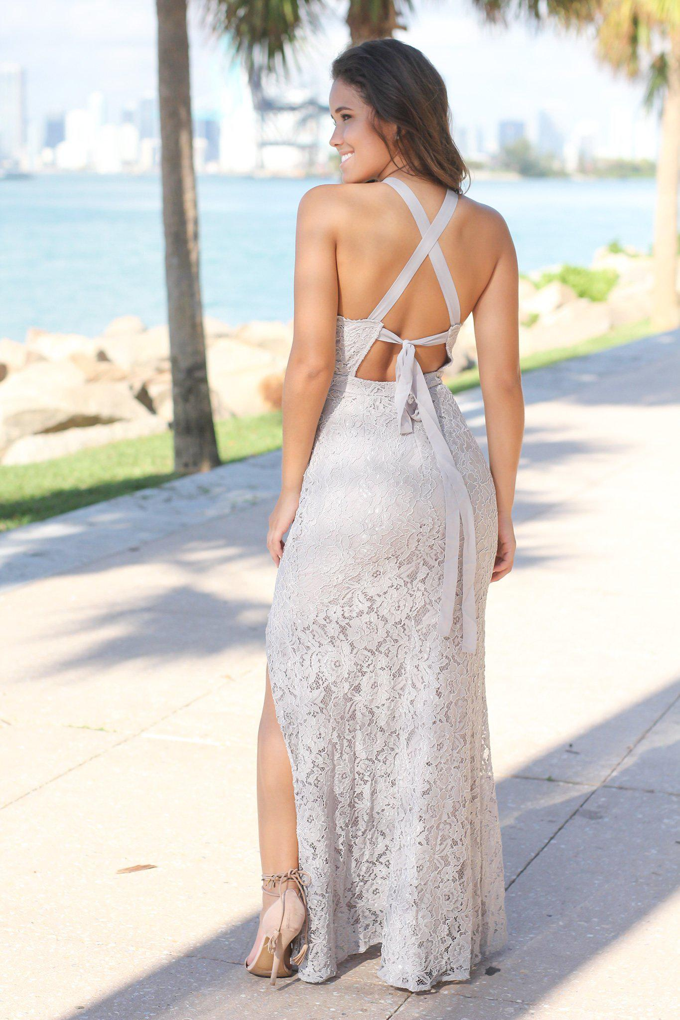 Gray Lace Maxi Dress with Criss Cross Tie Back