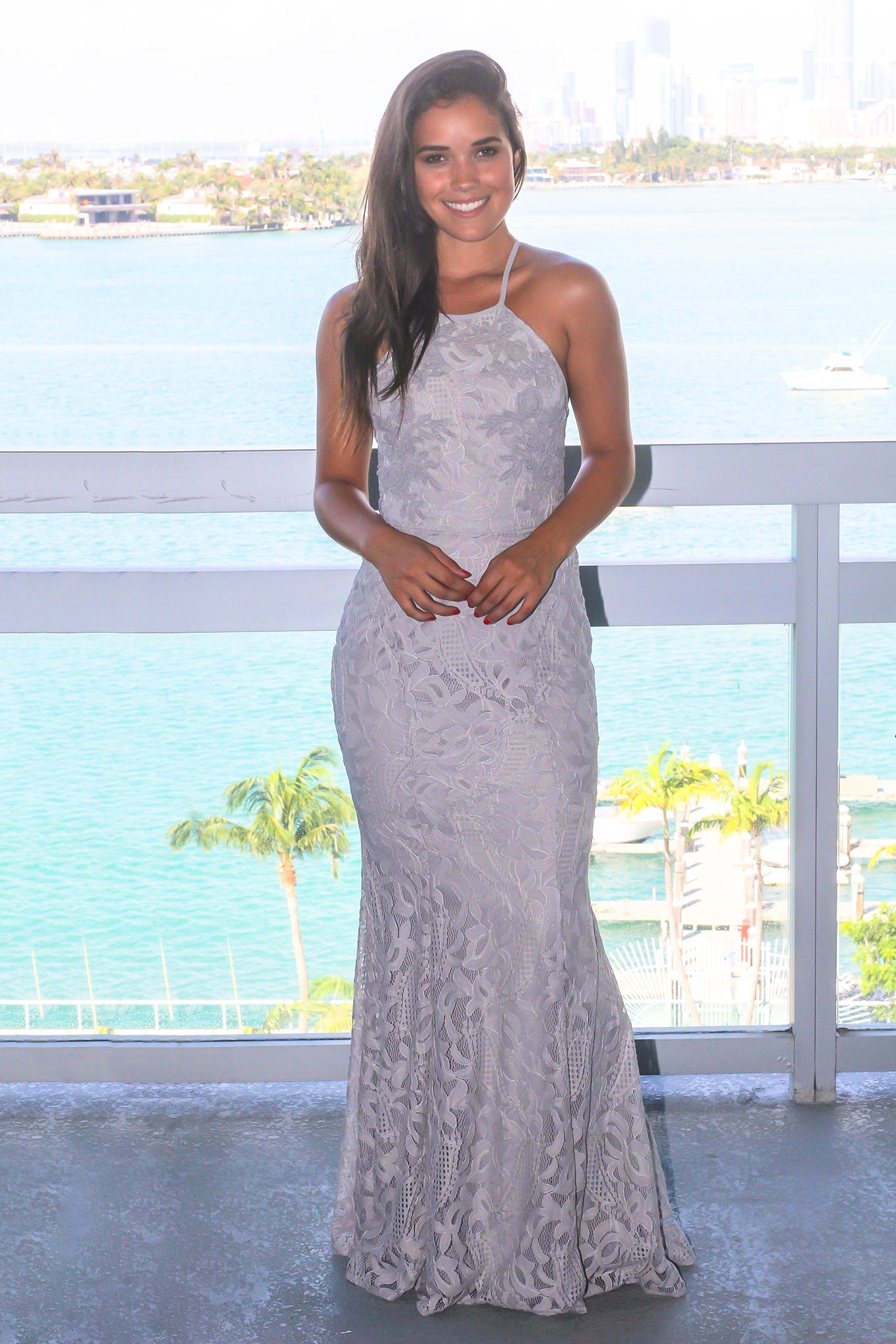 Gray Lace Maxi Dress with Halter Top and Tie Back