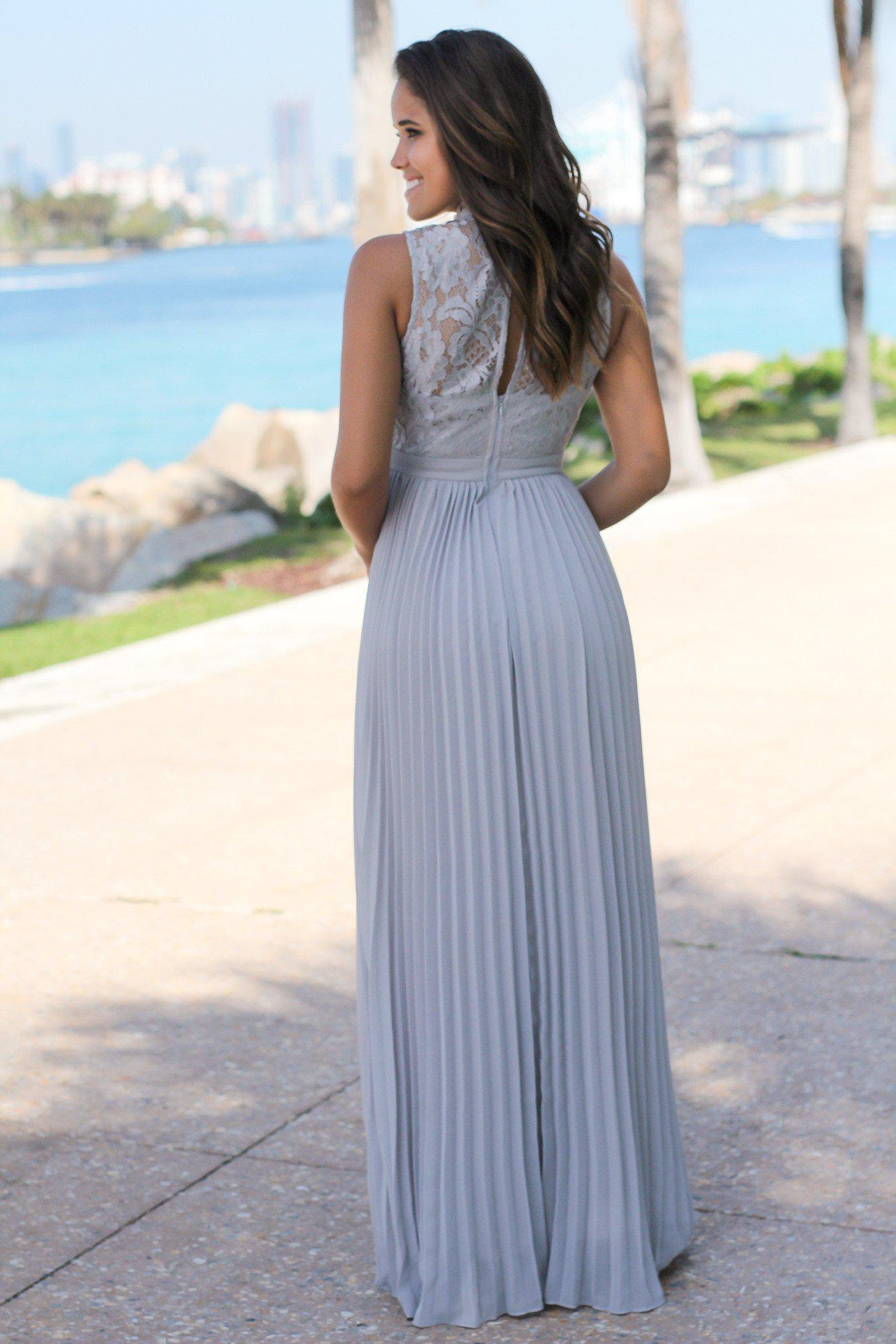 Gray Lace Maxi Dress with Pleated Skirt