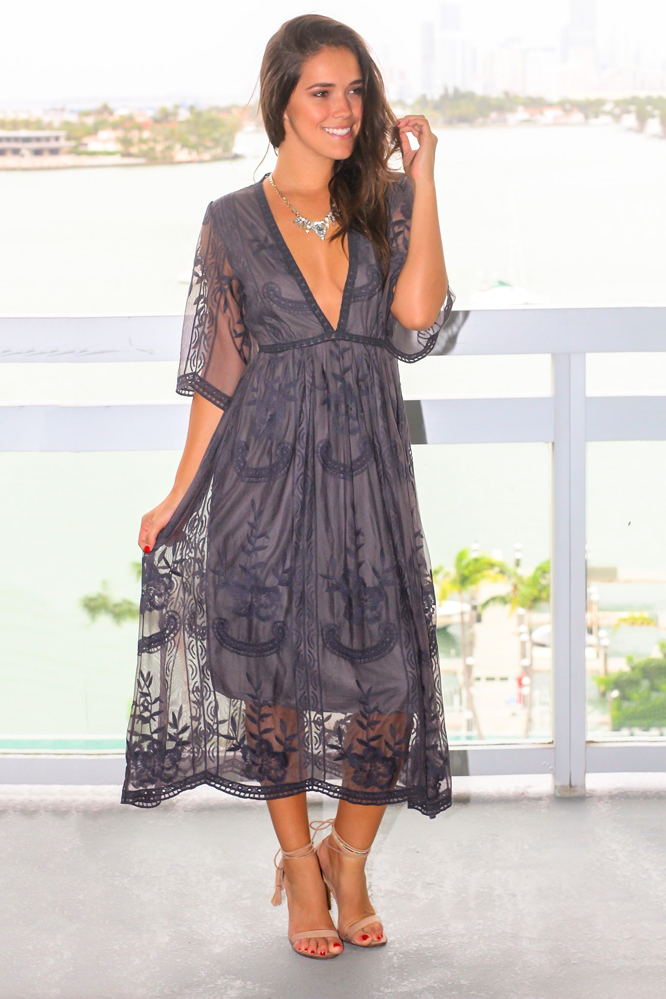 Gray Lace Midi Dress