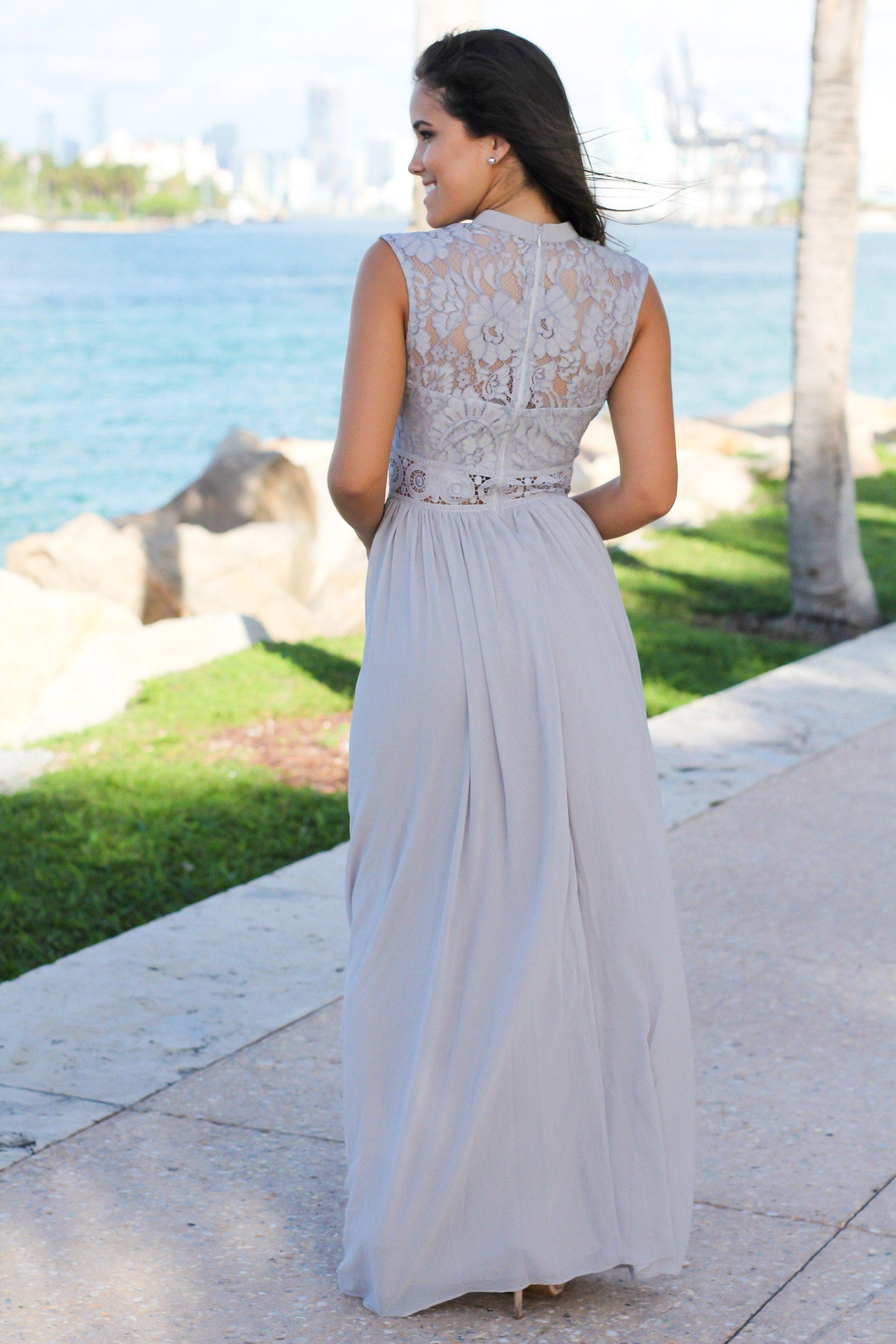Gray Lace Mock Neck Maxi Dress