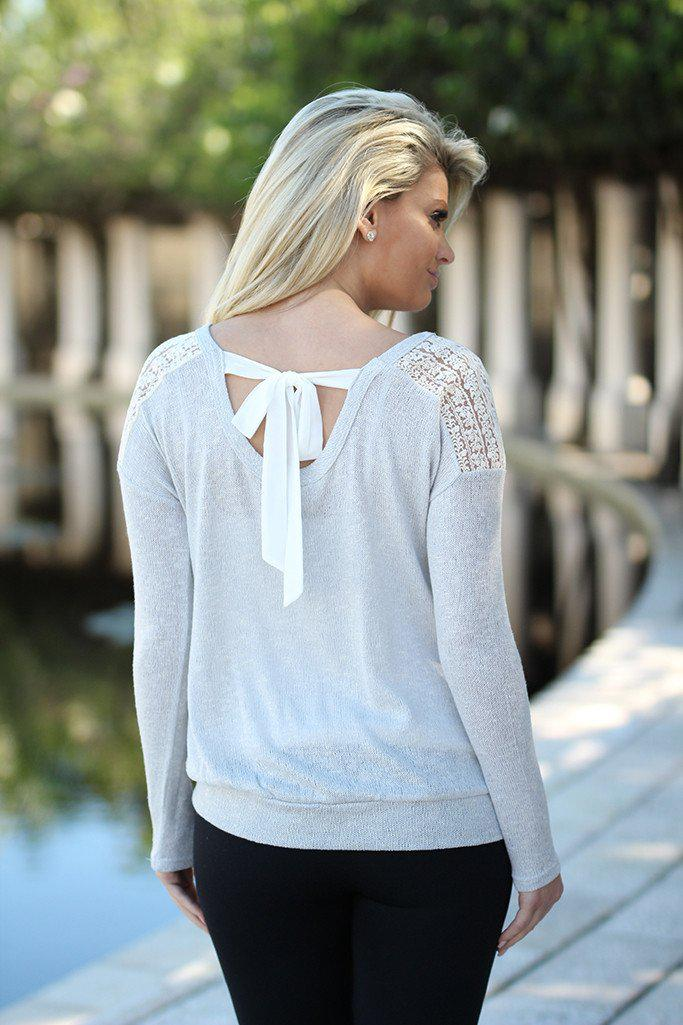 Gray Lace Top with Back Bow