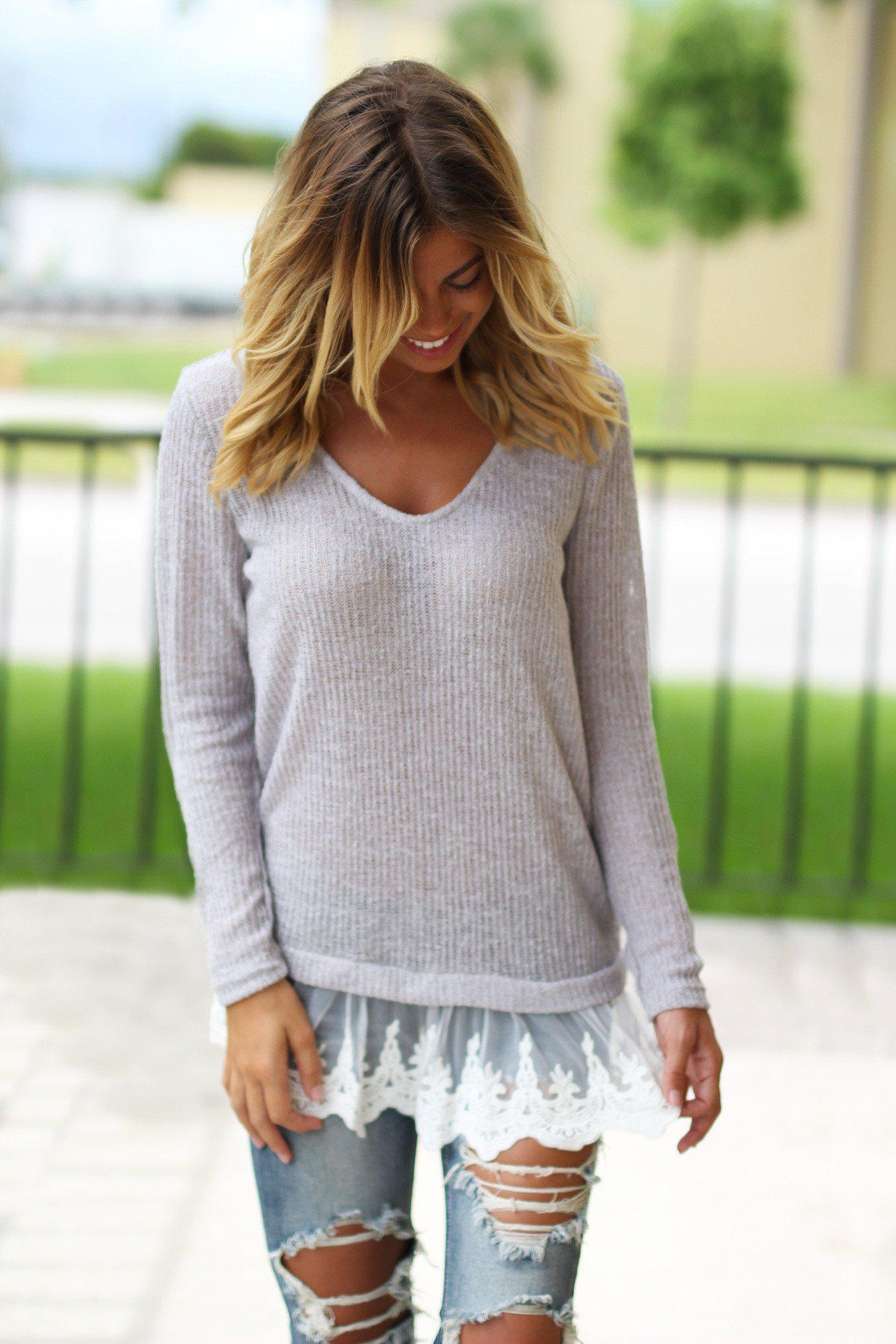 gray sweater with lace detail