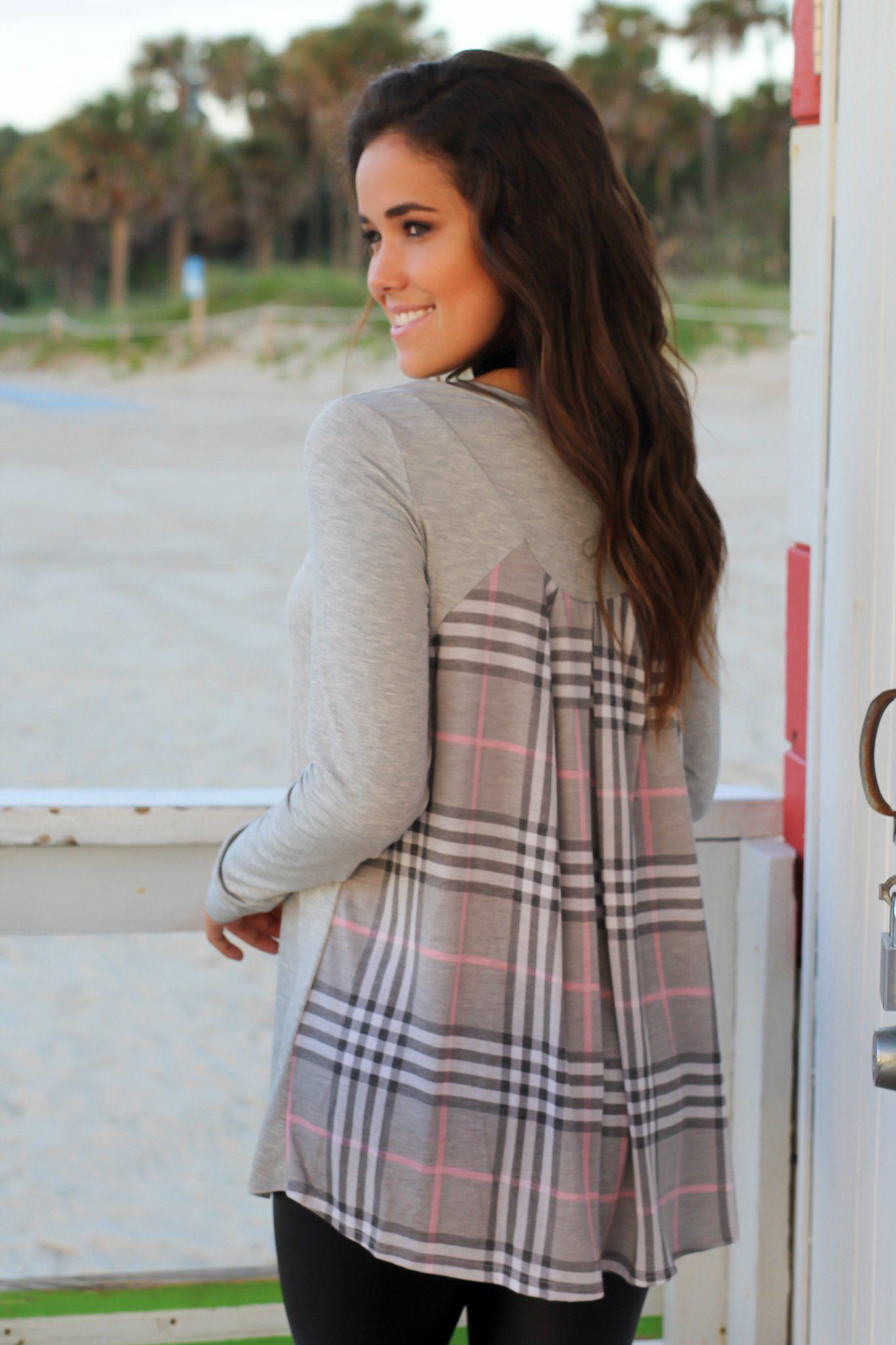 Gray Long Sleeve Top with Plaid Back