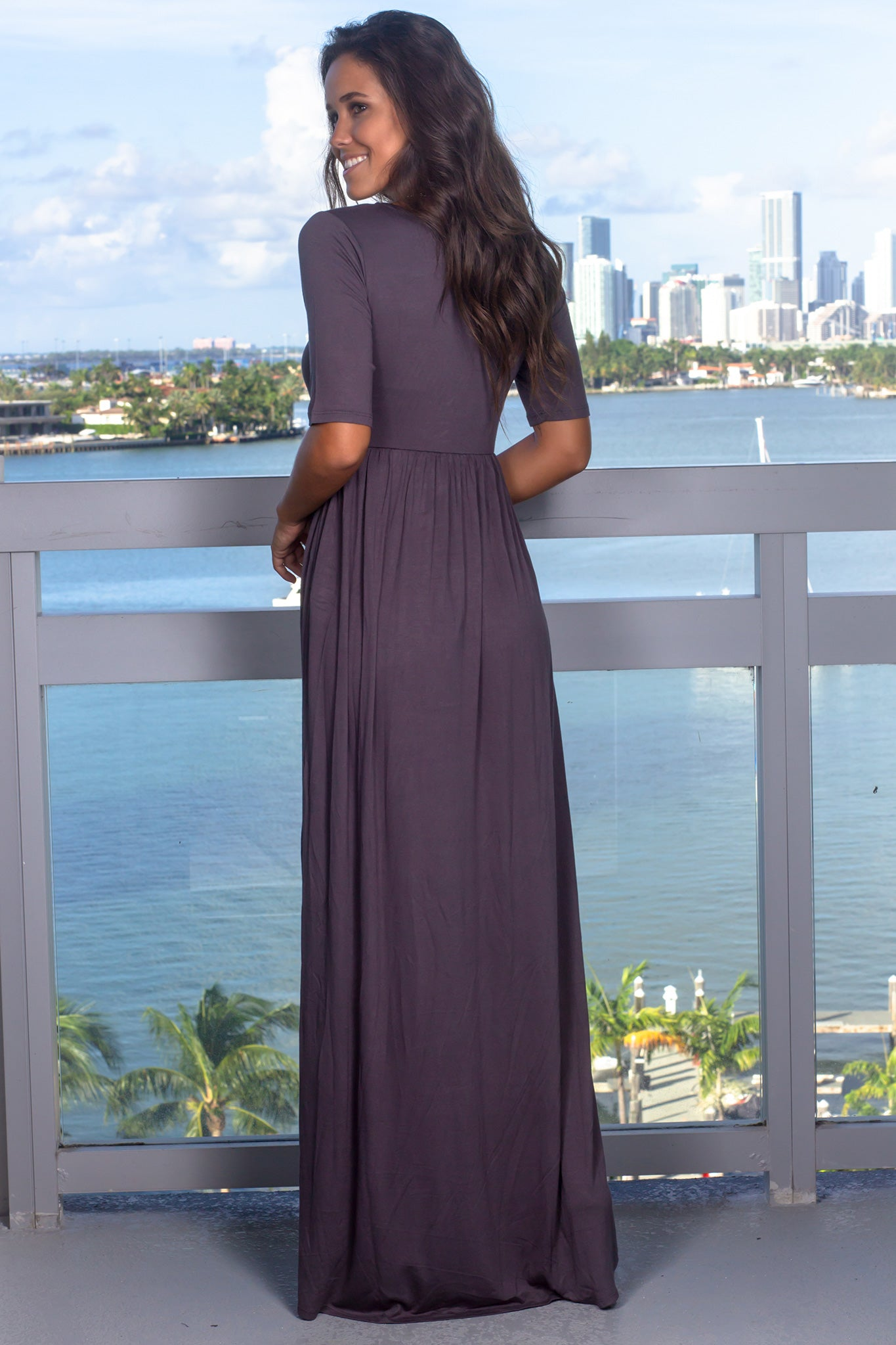 Gray Maxi Dress with 1/2 Sleeves