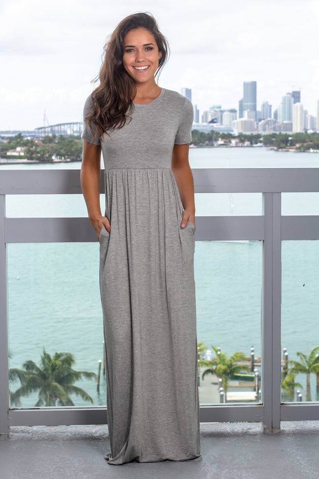 Gray Maxi Dress with Sleeves