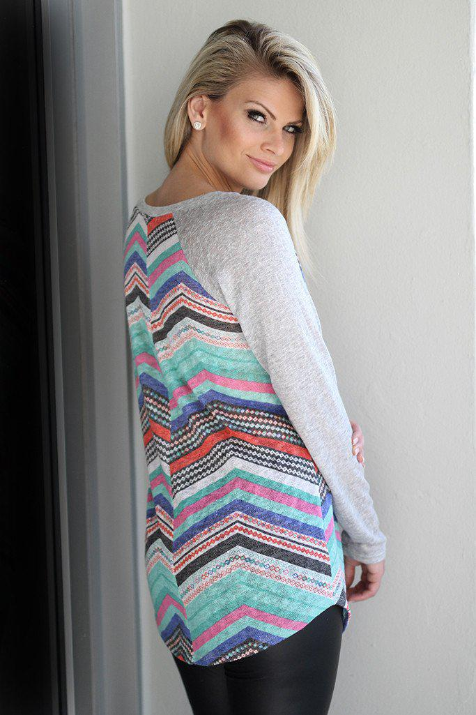 Gray Multi Color Chevron Top with Crochet Pocket