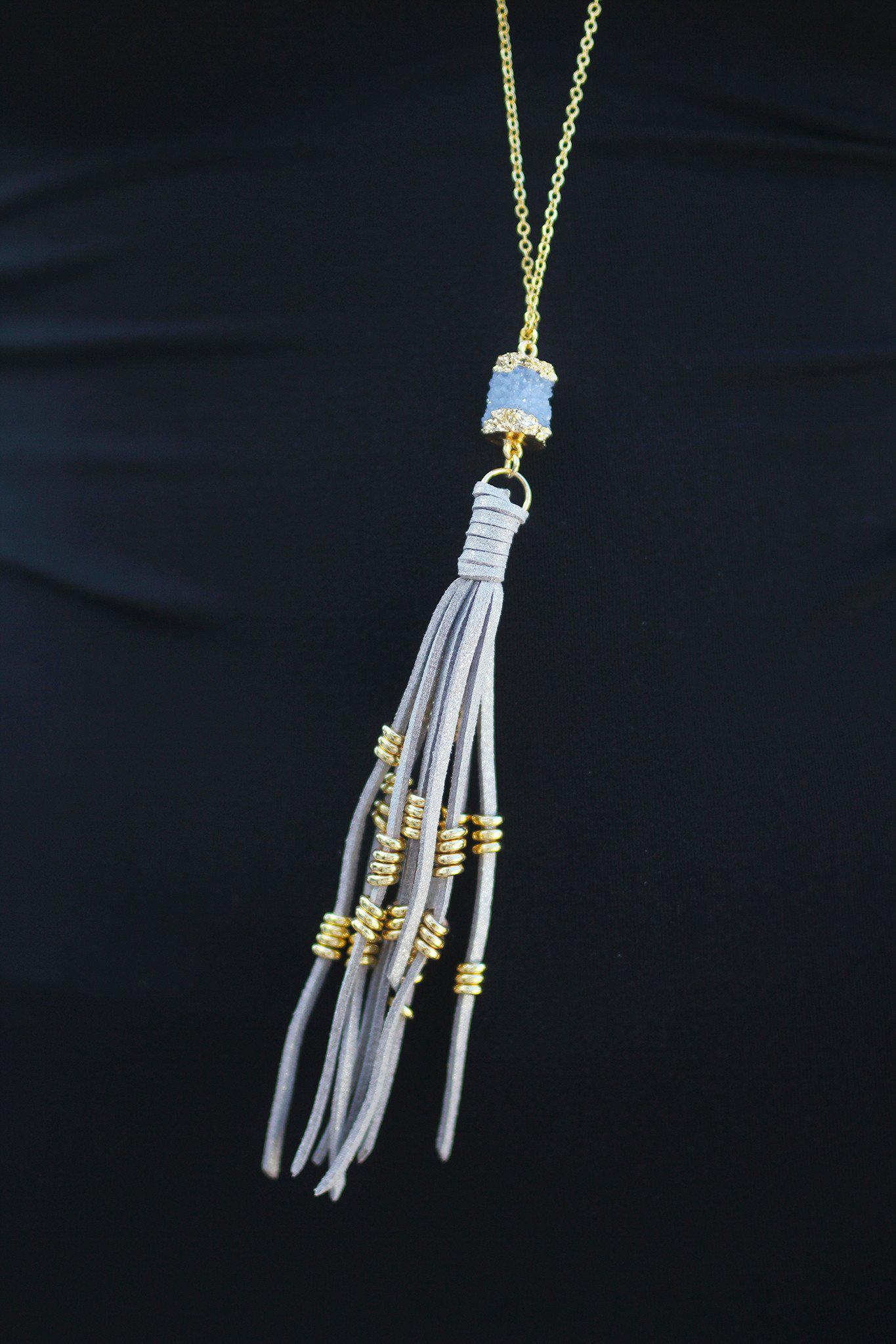 Gray Druzy Necklace with Tassel