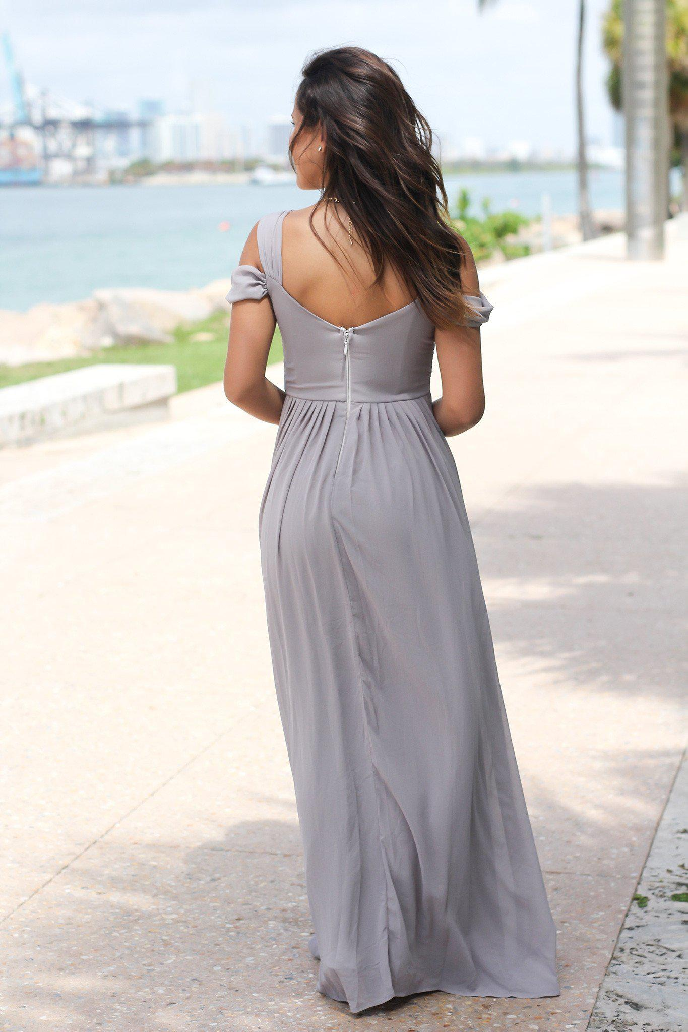Gray Off Shoulder Maxi Dress