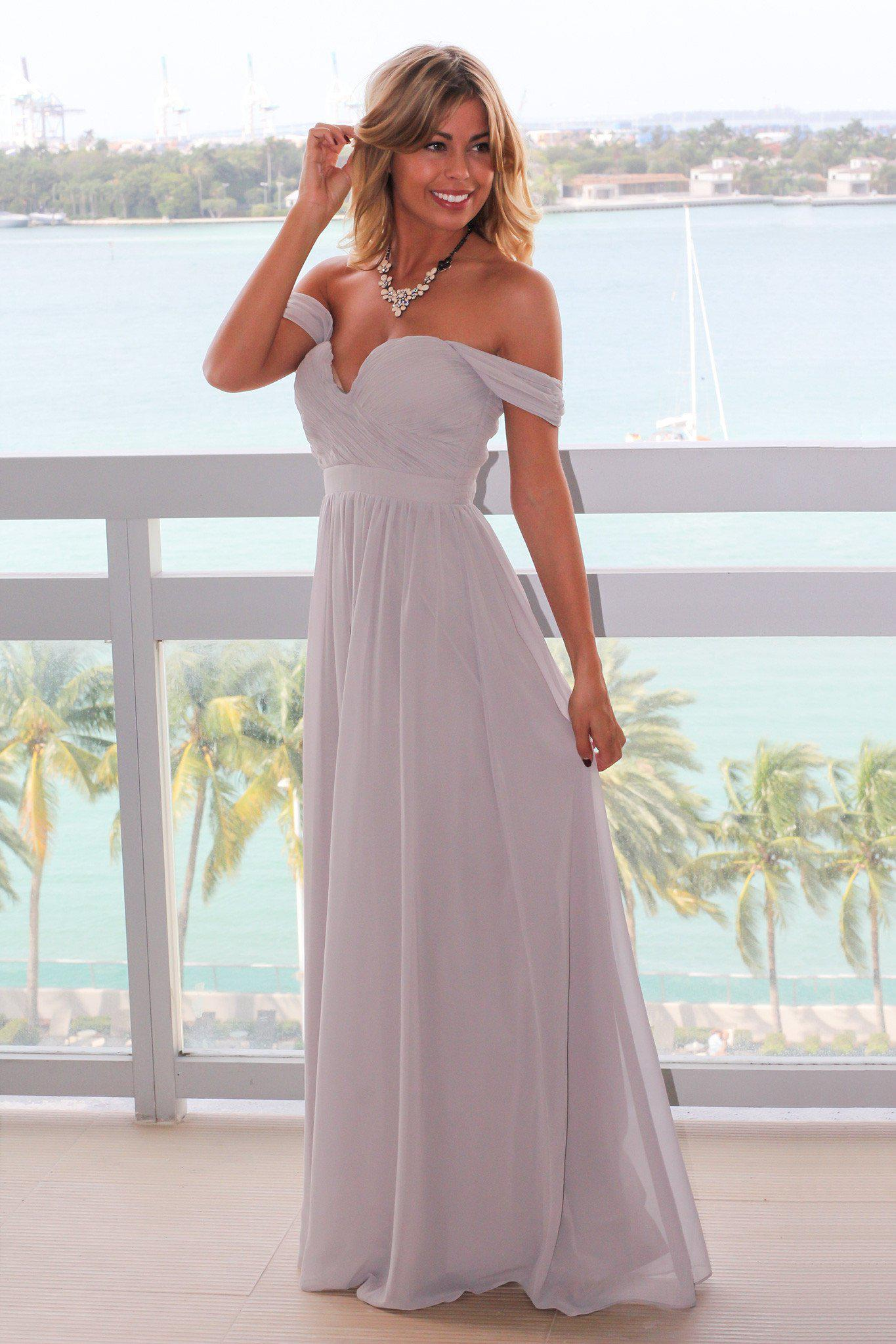 Gray Off Shoulder Maxi Dress with Pleated Top