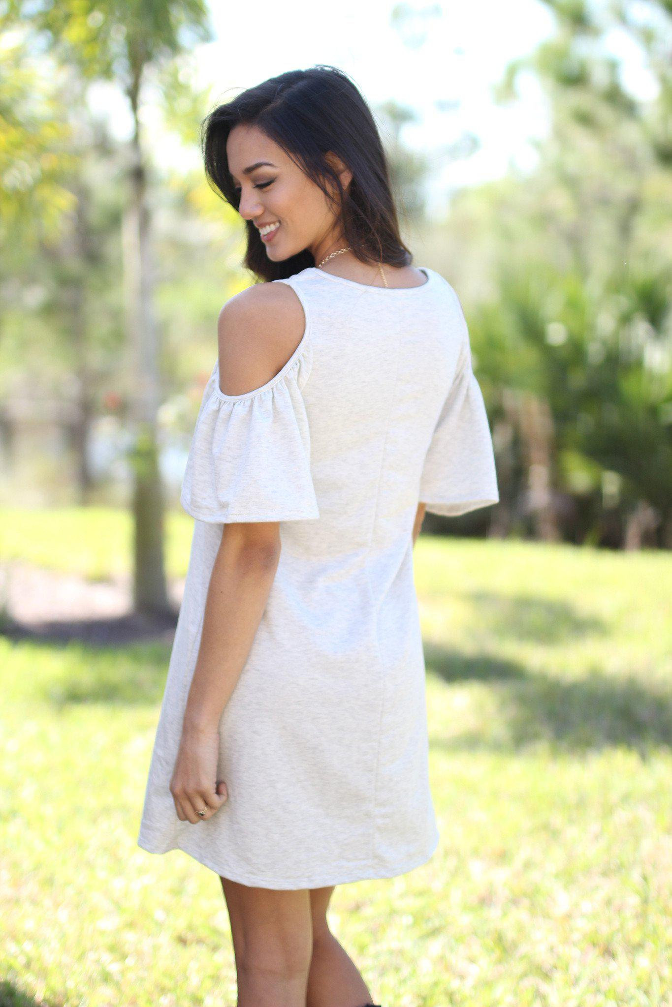 Gray Open Shoulder Ruffle Sleeves Tunic