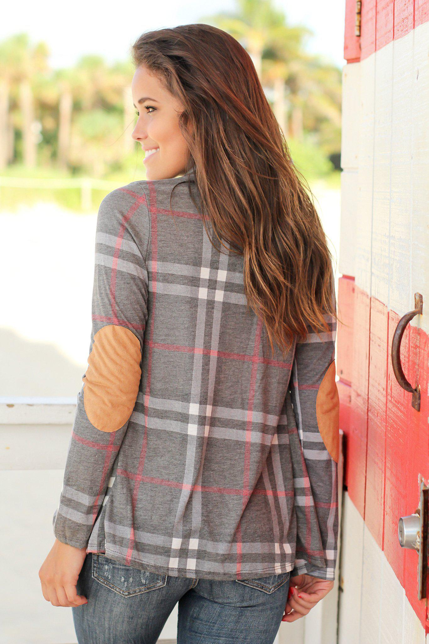 Gray Plaid Cardigan with Elbow Patches