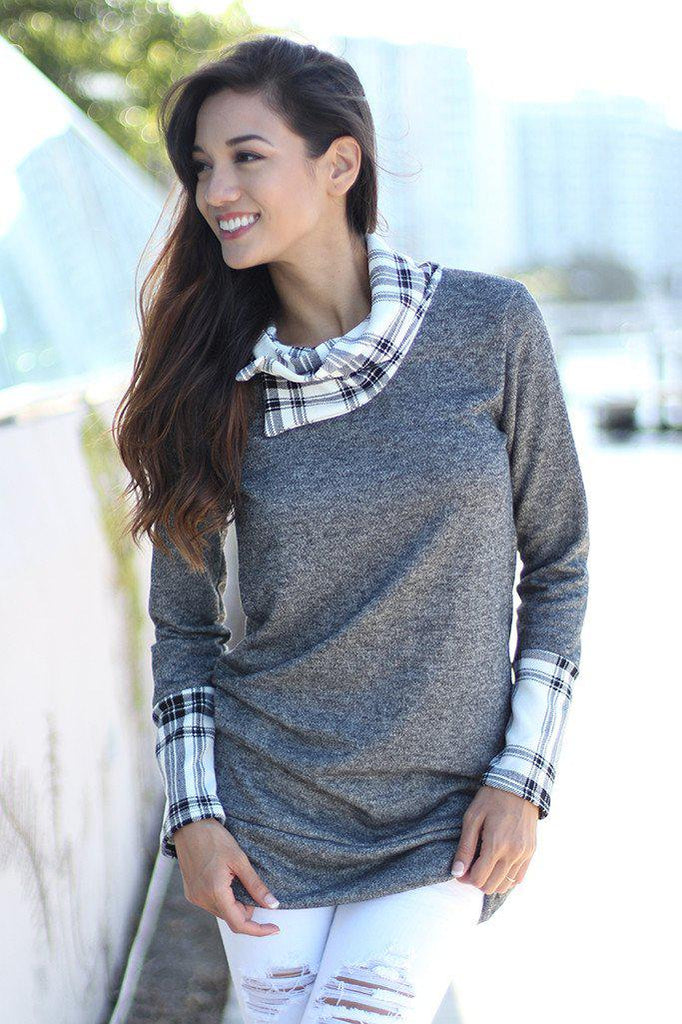 gray plaid top with cowl neck