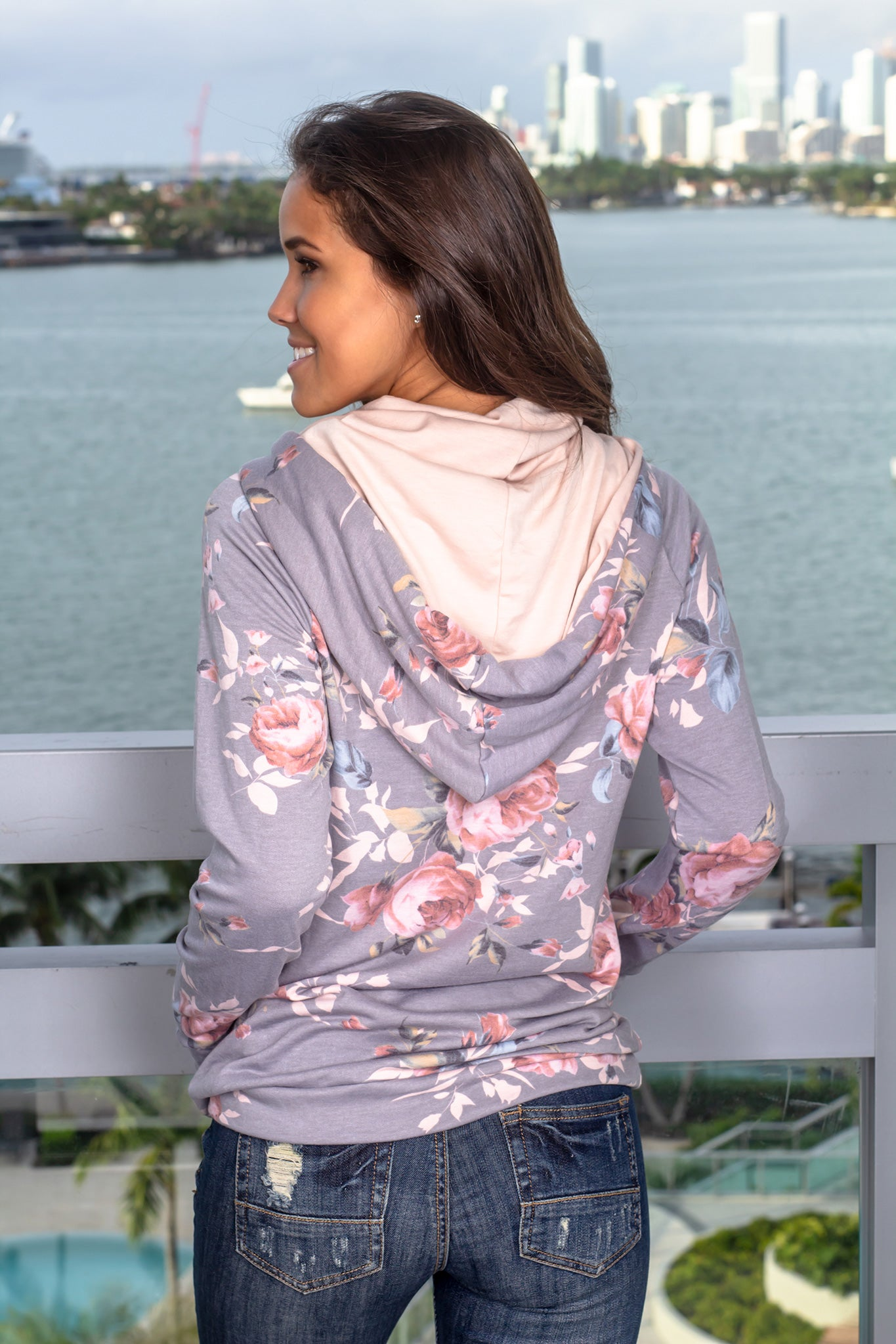 Gray Pullover with Floral Detail