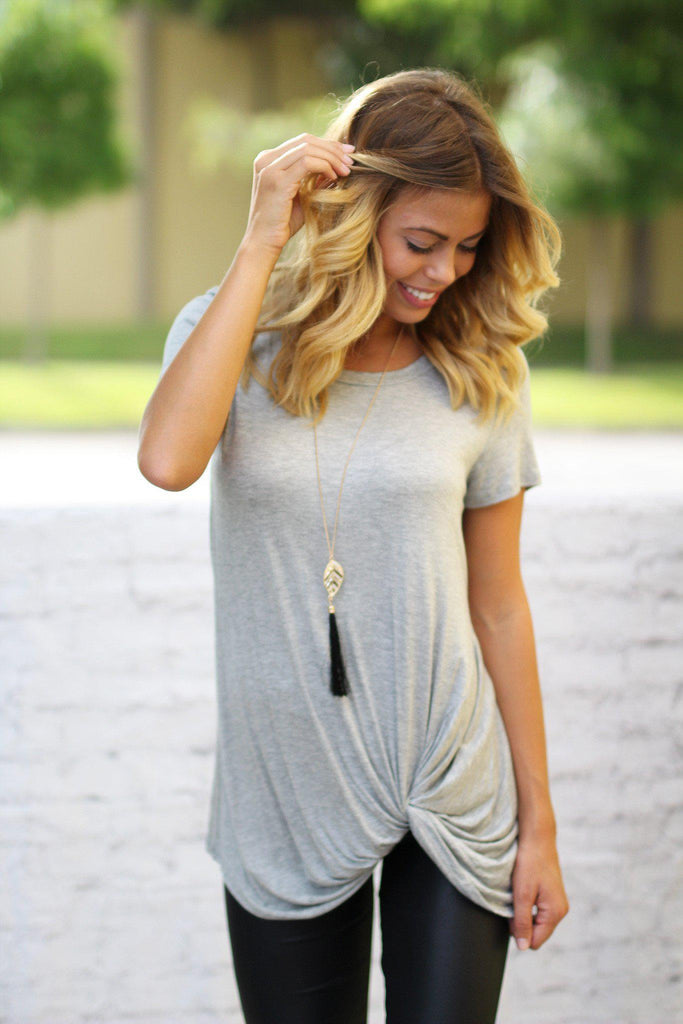 Gray Top With Knot
