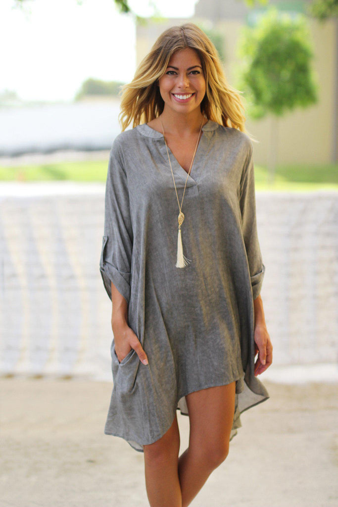 gray high low tunic