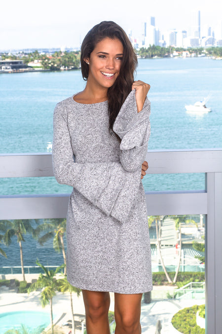 Gray Short Dress with Ruffle Bell Sleeves