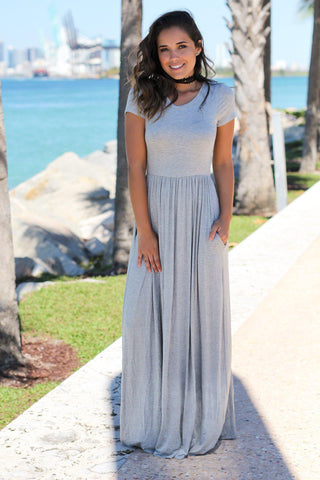 Gray Short Sleeve Maxi Dress with Pockets