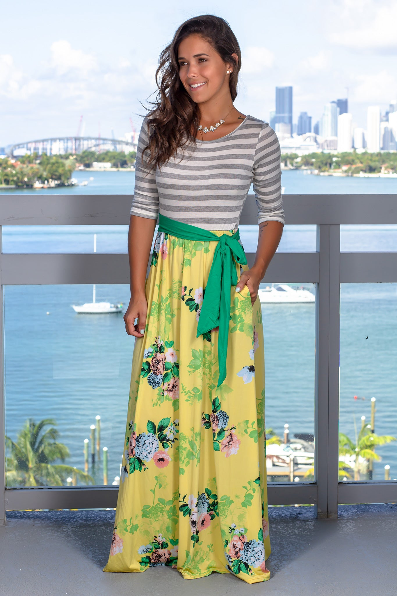Gray Striped Maxi Dress with Yellow Floral Skirt