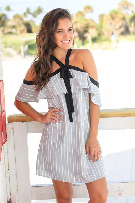 Gray Striped Off Shoulder Short Dress