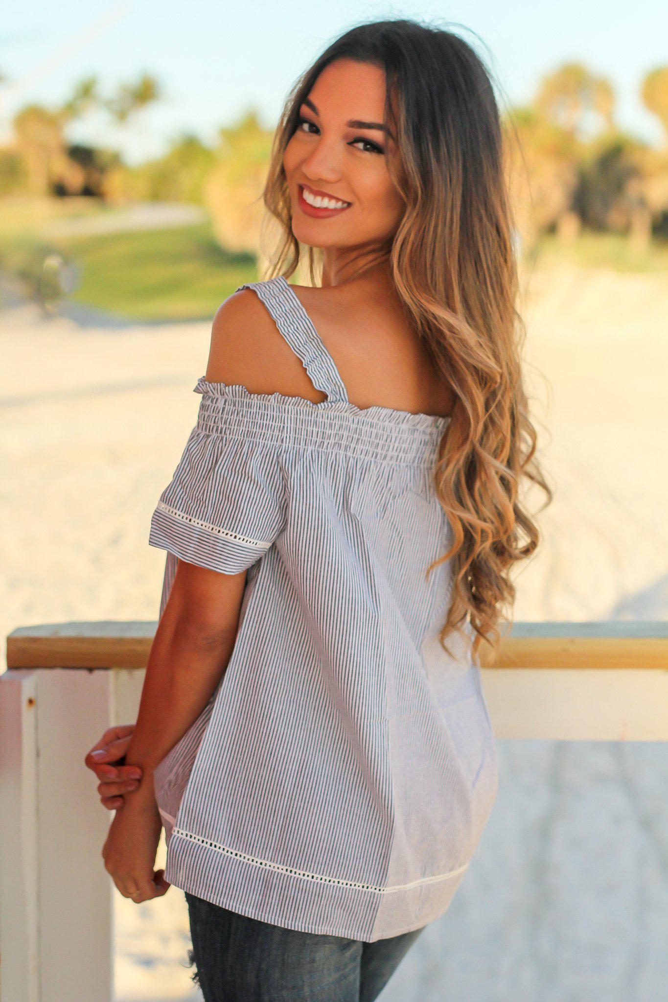 Gray Striped Off Shoulder Top