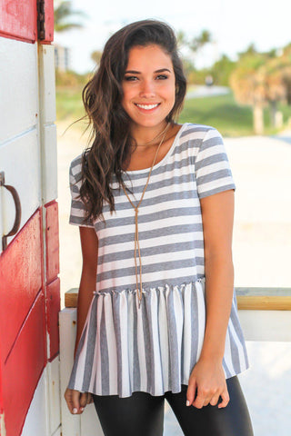 Gray Striped Short Sleeve Babydoll Top