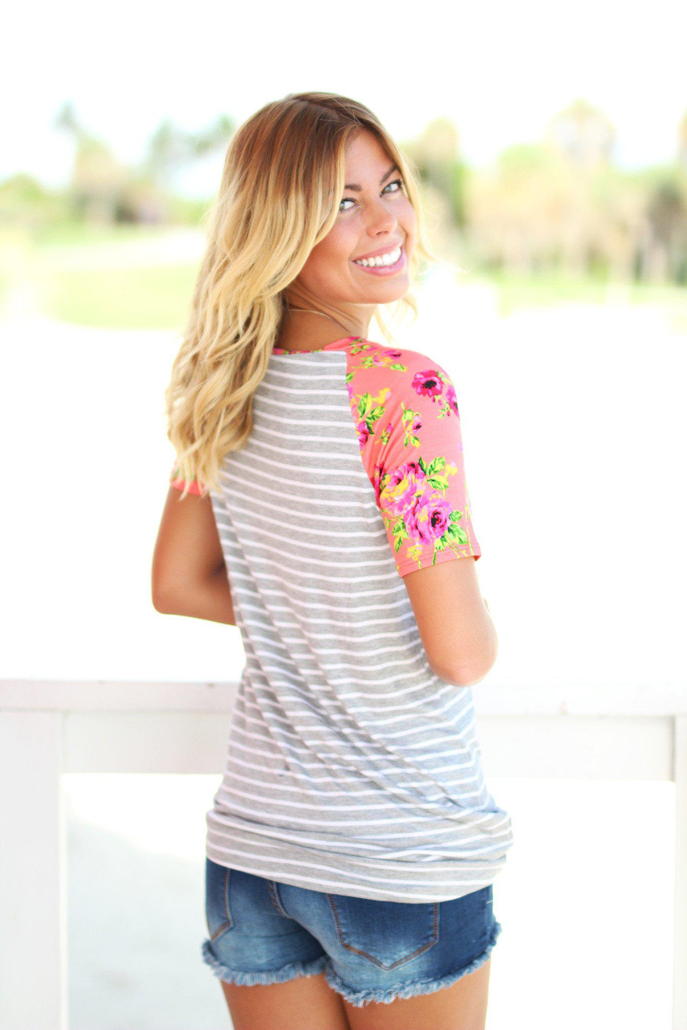Gray Striped Top with Coral Floral Sleeves