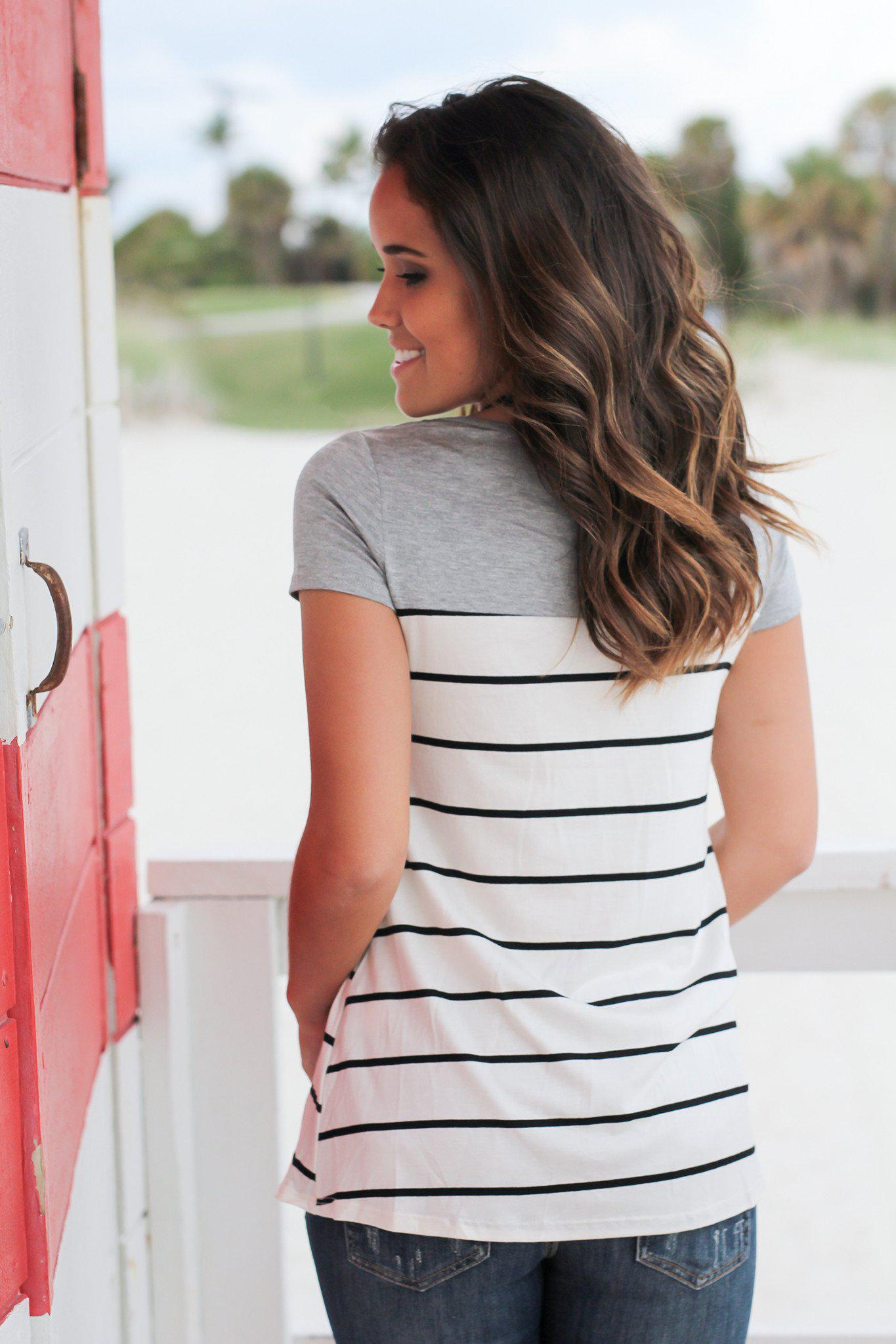 Gray Striped Top with Crochet Pocket