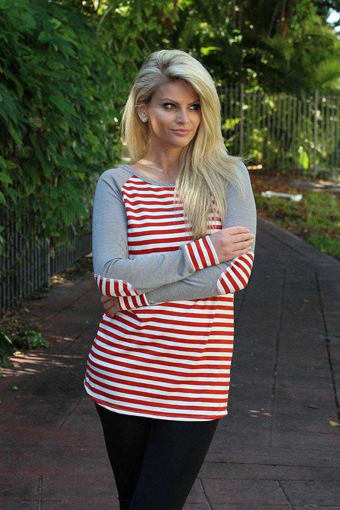 Red and Gray Striped Top with Elbow Patches