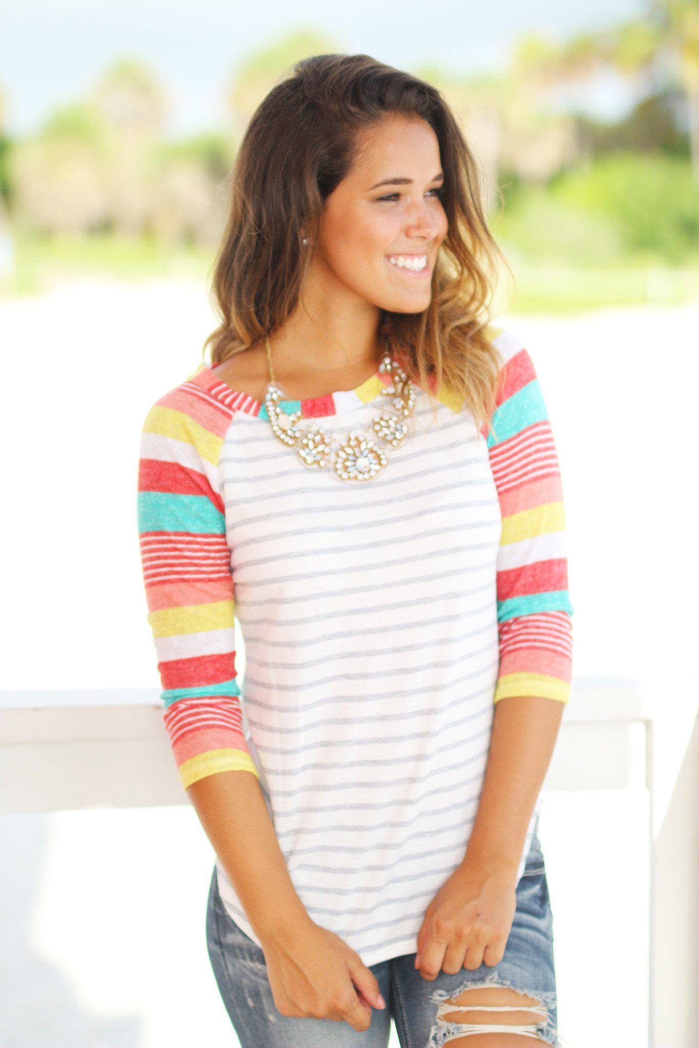 Striped Top with Multicolor Sleeves