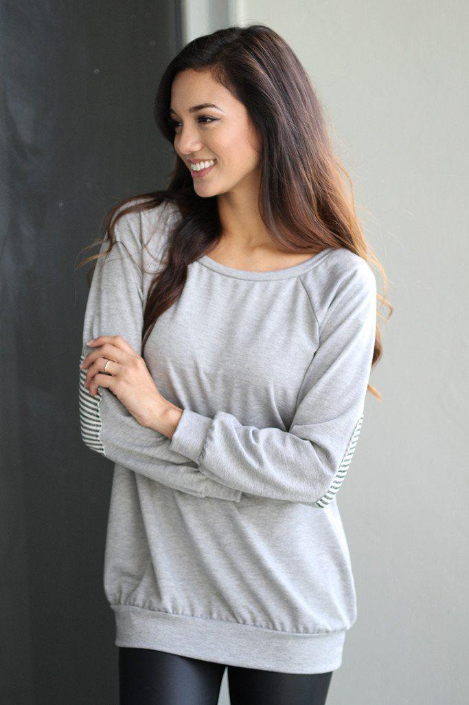 Gray Sweater With Heart Elbow Patches