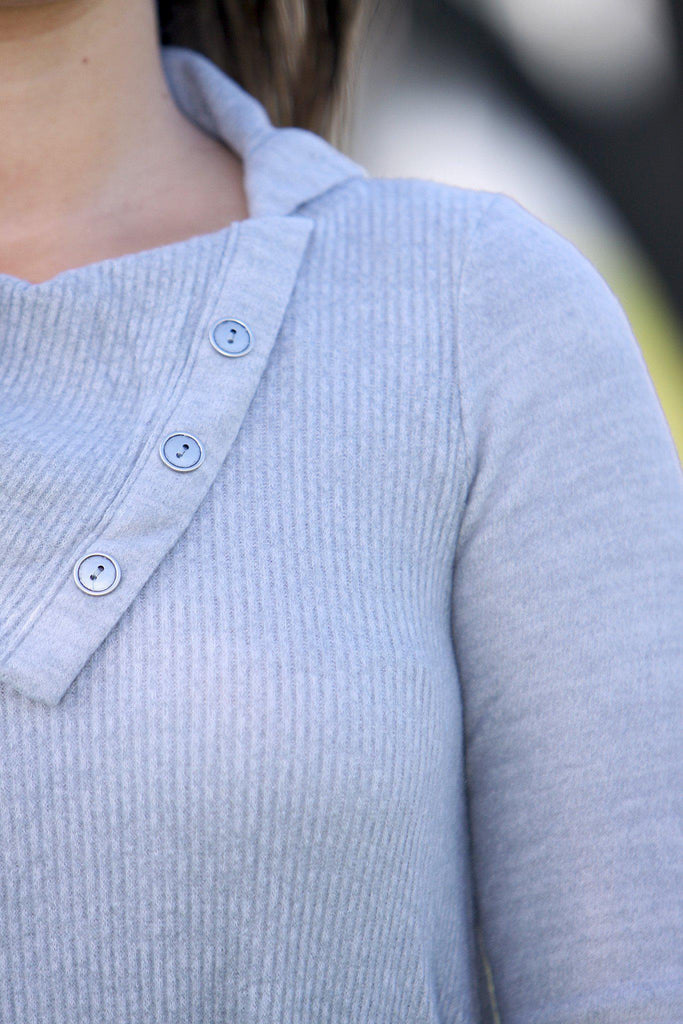 gray cute sweater with buttons