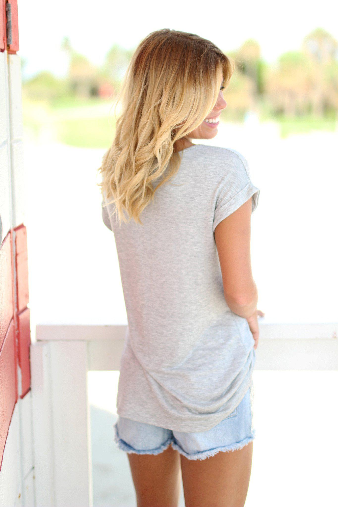 Heather Gray Tee with Pineapple Pocket