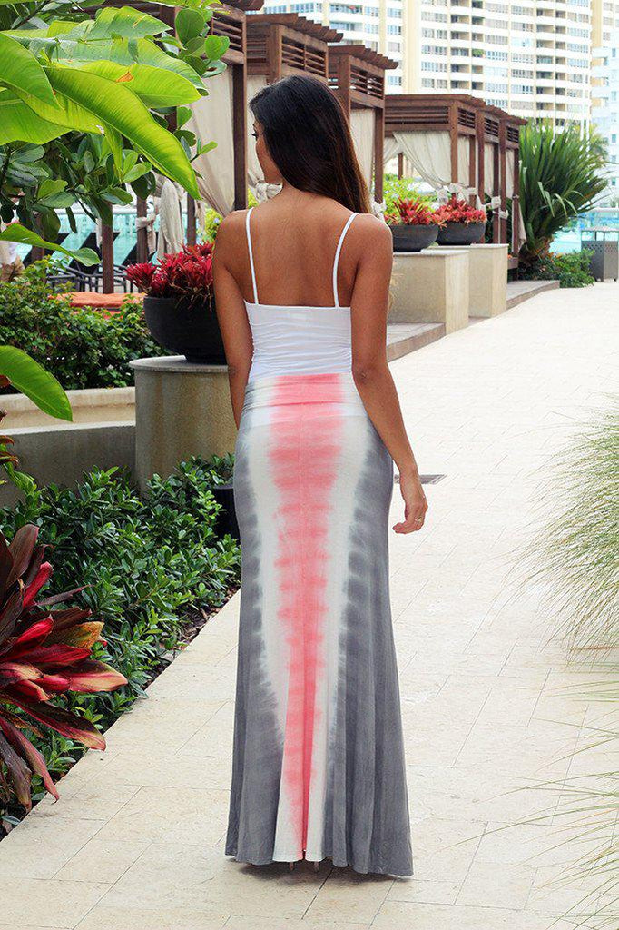 gray and pink maxi skirt