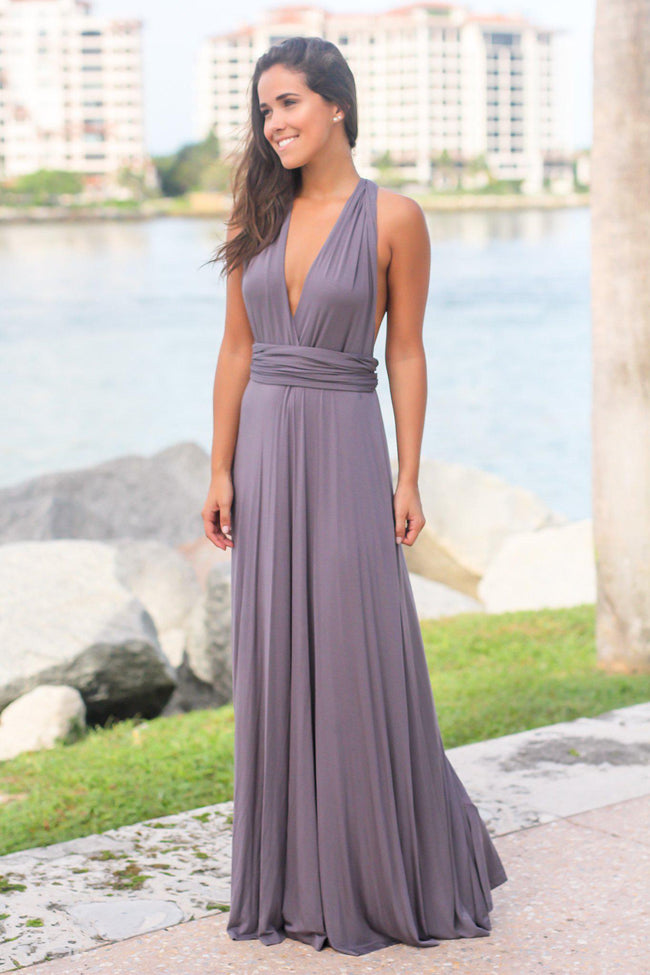 Gray Tie Maxi Dress with Open Back