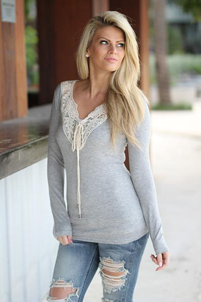 Gray Top with Crochet Detail