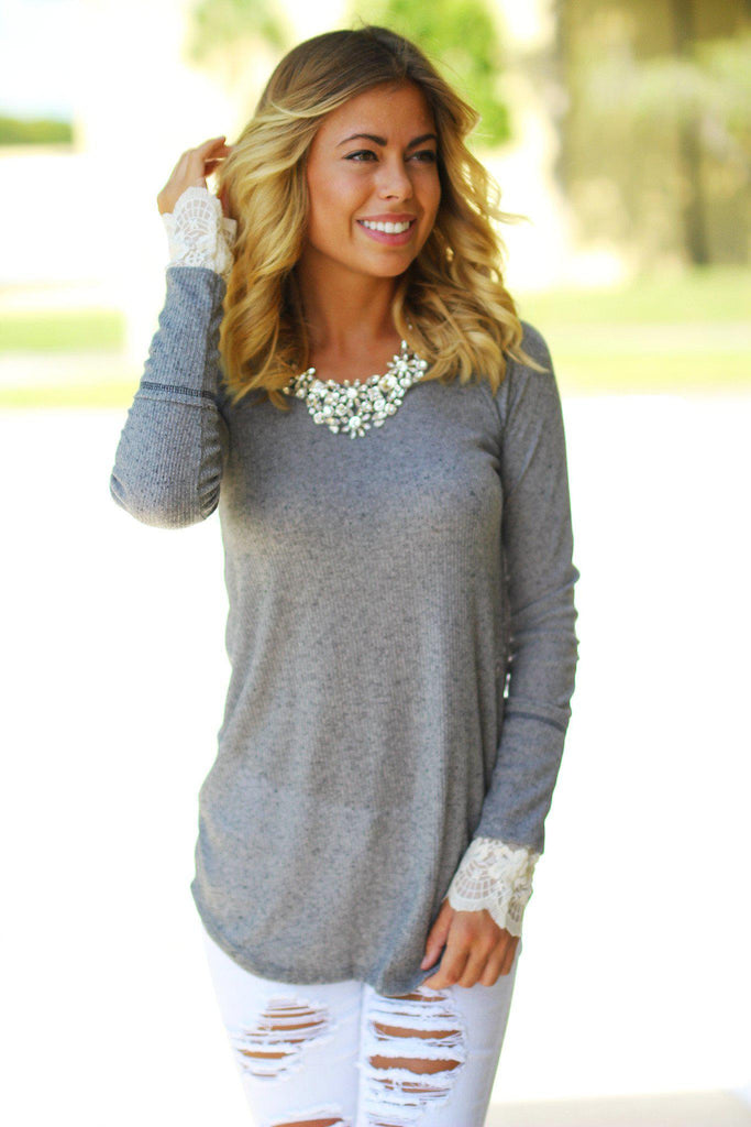 Gray Top with Lace Sleeves