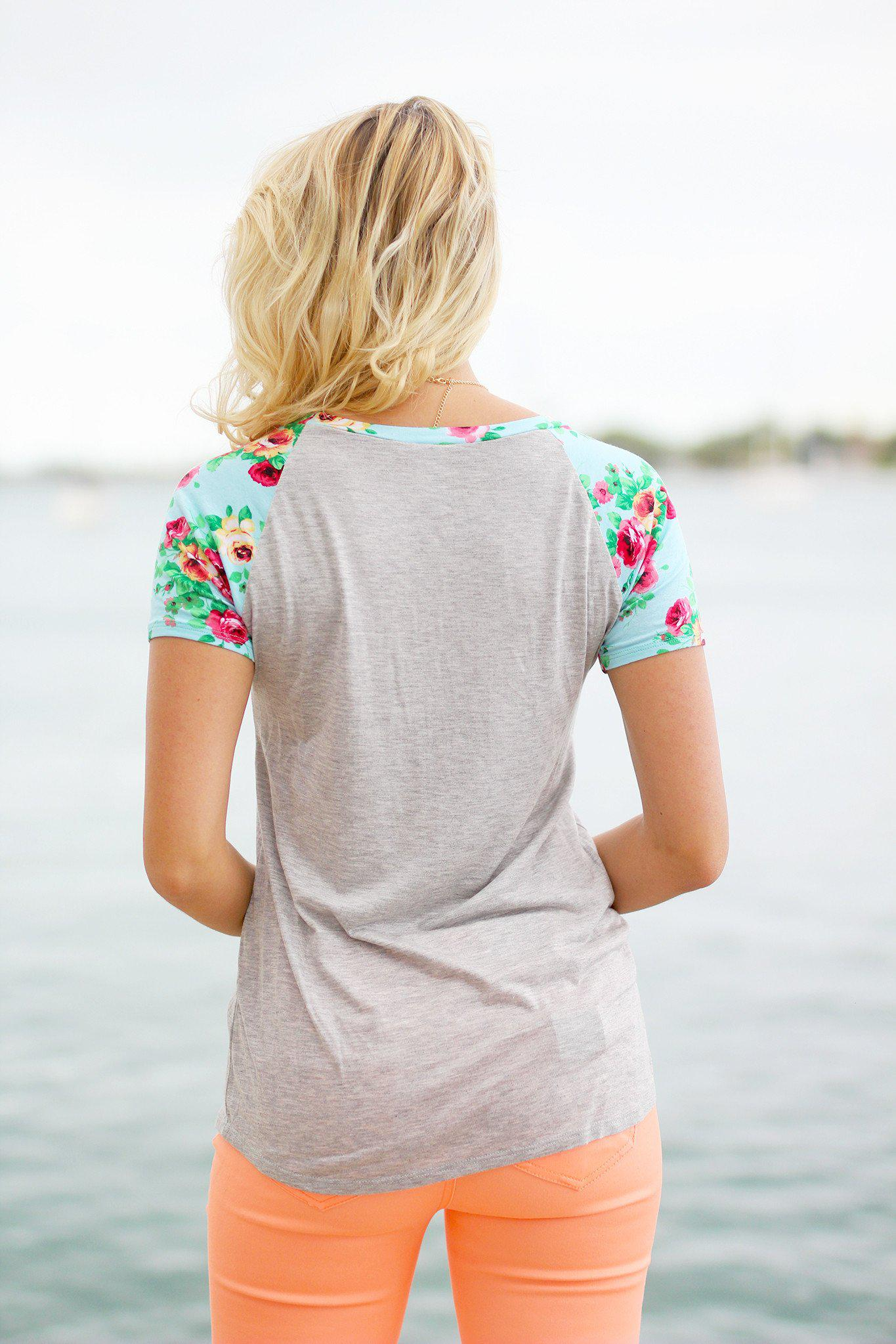 Heather Gray Top with Mint Floral Sleeves