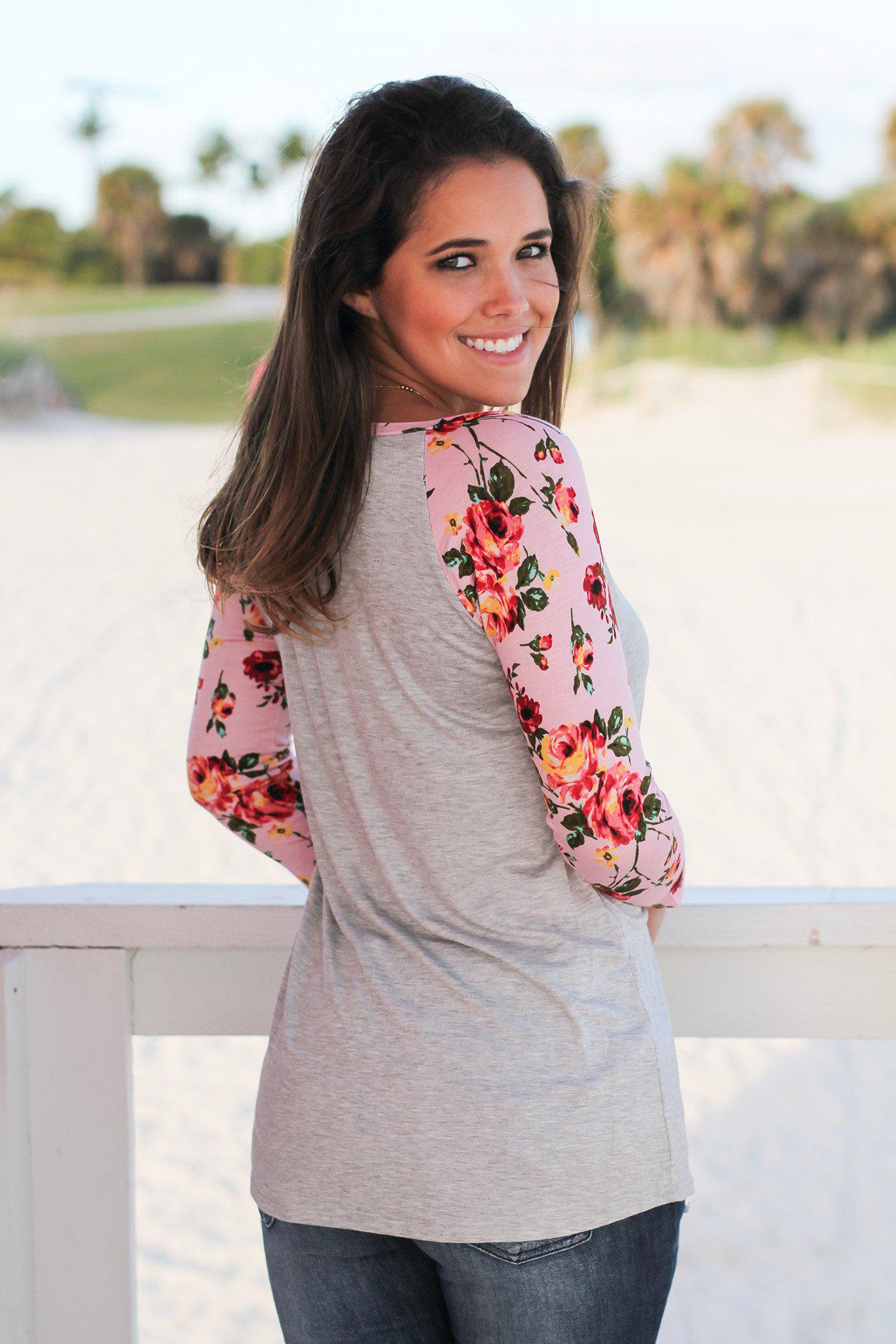 Gray Top with Pink Floral Sleeves