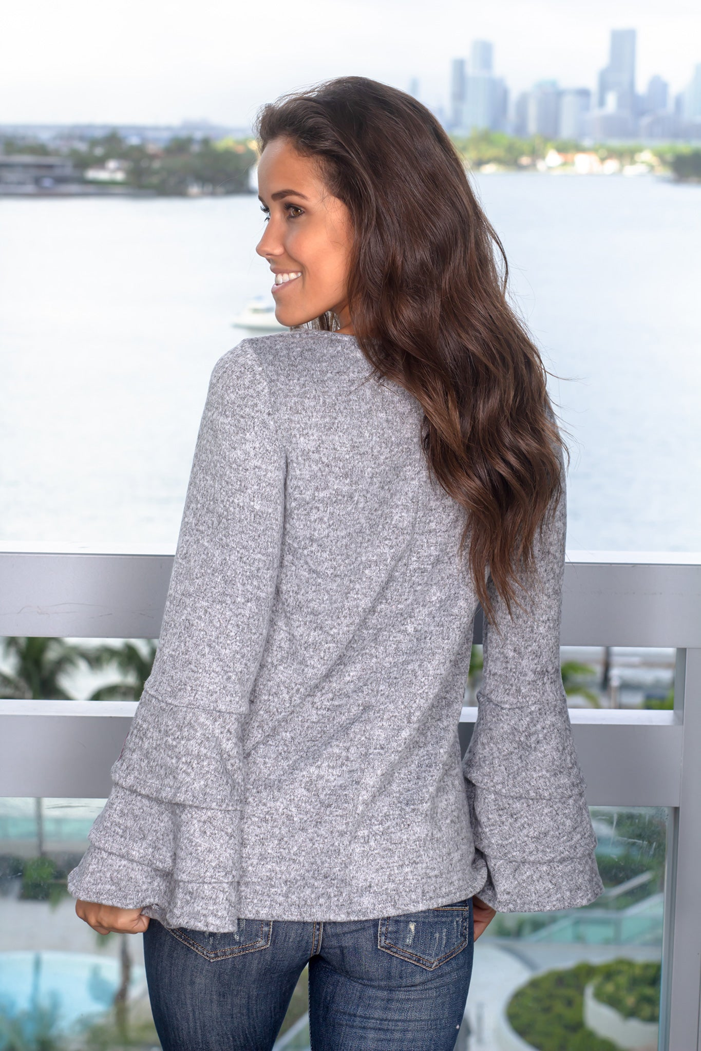Gray Top with Ruffle Bell Sleeves