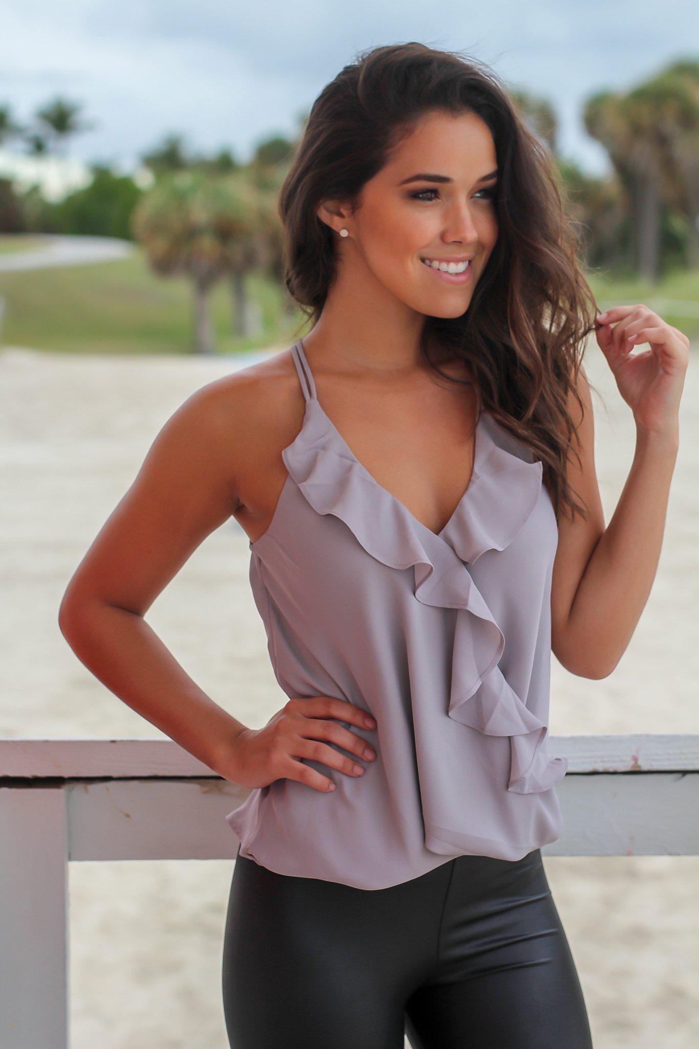 Gray Top with Ruffles