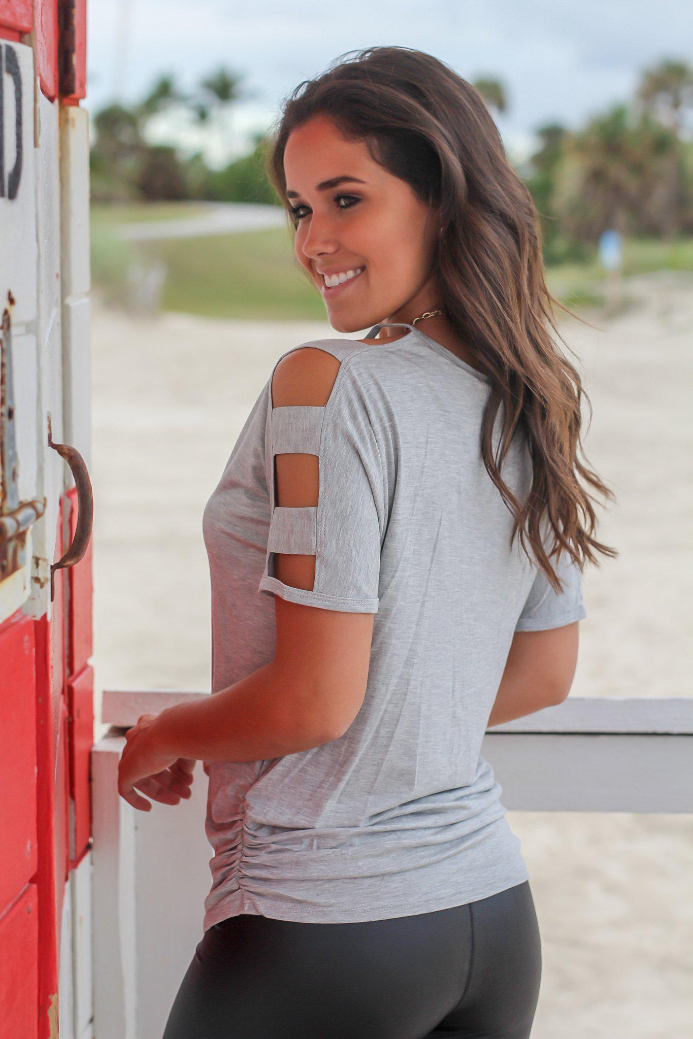 Gray Top with Strap Detail Sleeves