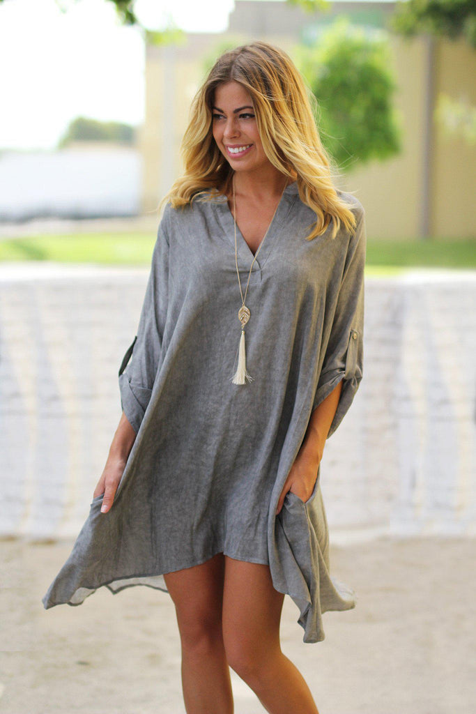 gray faded tunic dress