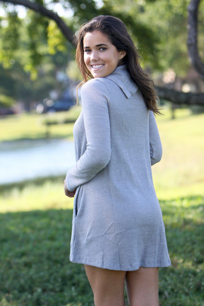 gray casual tunic sweater