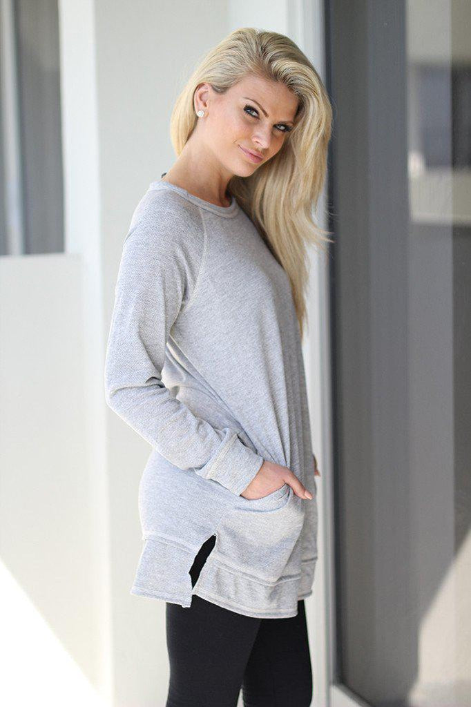 heather gray long top